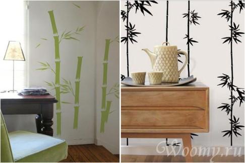 обои с элементами бамбука